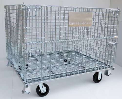Foldable Wire Container with Leg & Caster