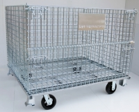 Foldable Wire Containers with Leg & Caster