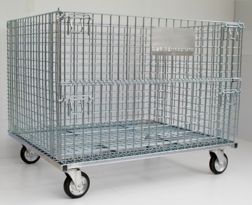 Foldable Mesh Cage with Wheels
