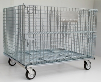 Foldable Wire Container with Casters