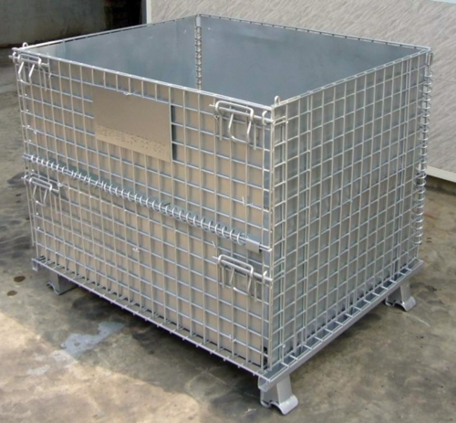 Foldable Wire Containers with Protective Plate