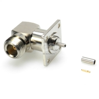 RF Coaxial Connector, N, R/A, Crimp, Jack, Panel Mount Type