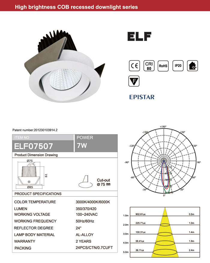 WHITE BLACK RECESSED CRI80 EPISTAR 7W COB LED DOWNLIGHTS