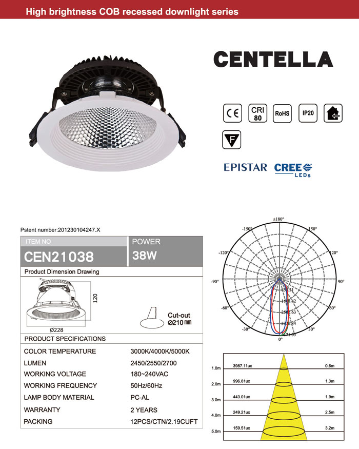 RECESSED CEILING CRI80 CREE or EPISTAR 38W COB LED DOWNLIGHT