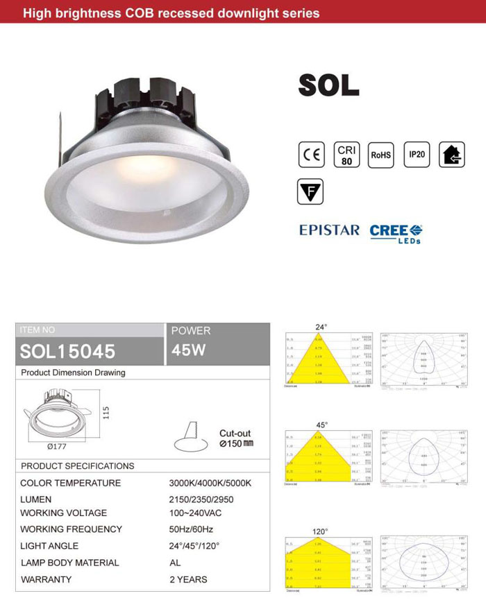 HIGH BRIGHTNESS 45W COB LED DOWNLIGHT EPISTAR OR CREE