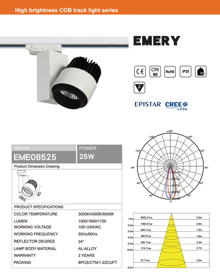CRI80 25W CREE OR EPISTAR LED TRACK LIGHT