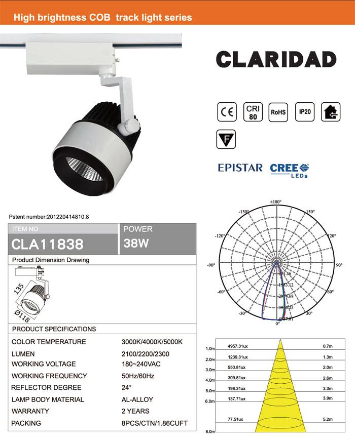 38W CREE OR EPISTAR COB LED TRACK LIGHT