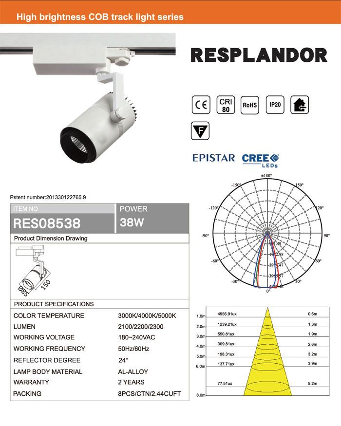 WHITE BLACK 0.9 PF CRI80 38W COB LED TRACK LIGHT CREE OR EPISTAR