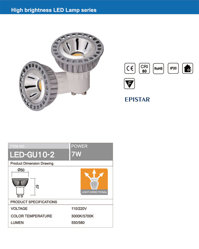 RETROFIT LIGHT Ra80 GU10 7W COB LED BULB