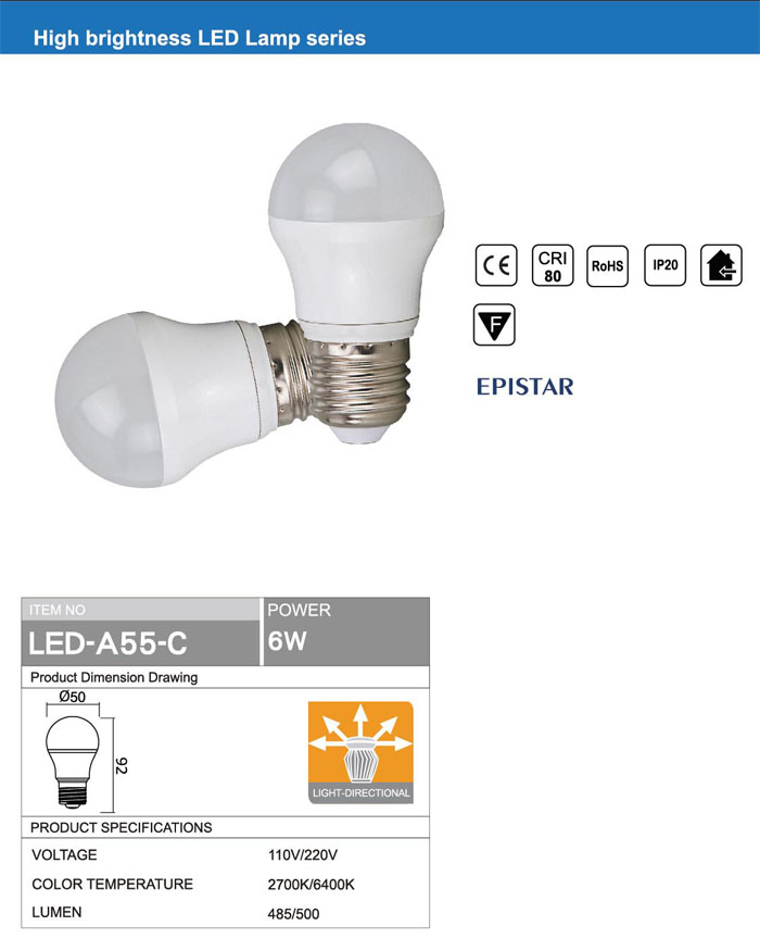 RETROFIT LIGHT OMNI DIRECTIONAL Ra80 E27 6W LED BULB