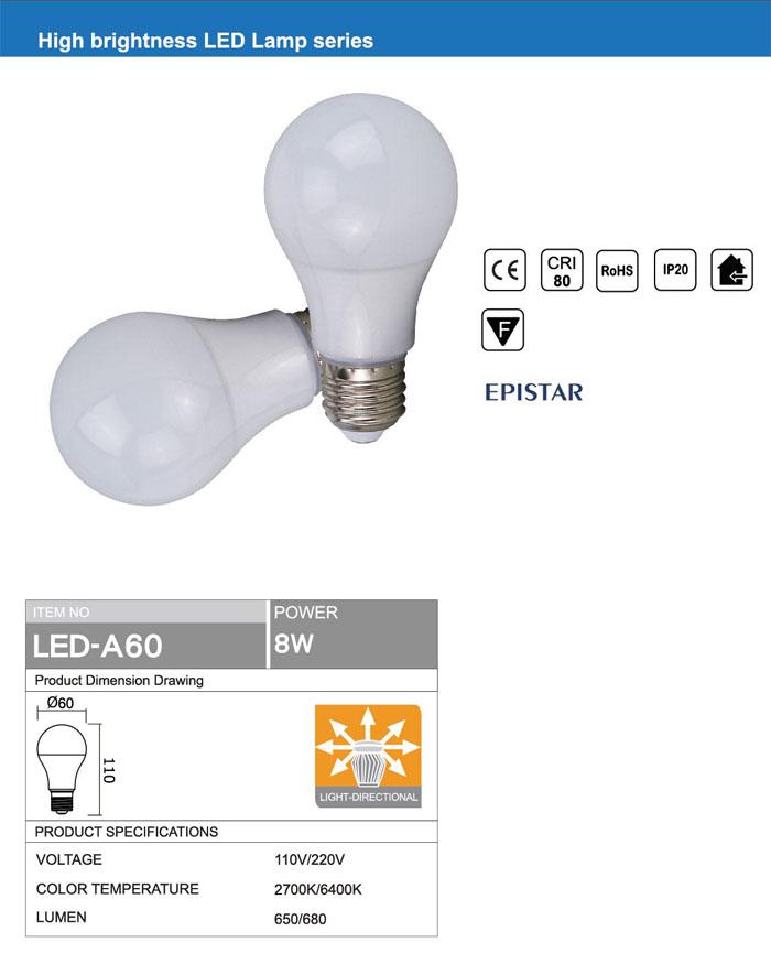 OMNI DIRECTIONAL Ra80 E27 A60 8W LED BULB