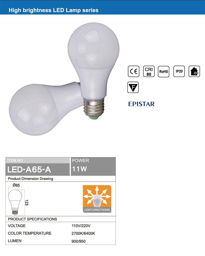 RETROFIT OMNI DIRECTIONAL Ra80 E27 A65 11W LED BULB