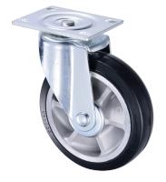 Aluminum Turbine-Core Elastic Rubber Black Castor Wheels 200mm
