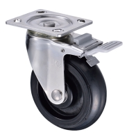 Elastic Rubber 6 Outdoor Chrome Swivel Plate Casters