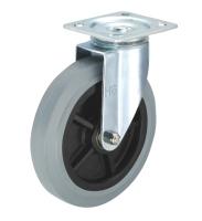 5寸弹力橡胶双刹车轮,推车轮(5x1.5