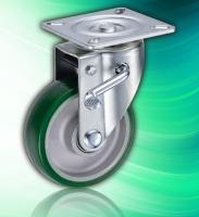 Side Lock Brake Aluminum Core 5inch PU Caster without Stem