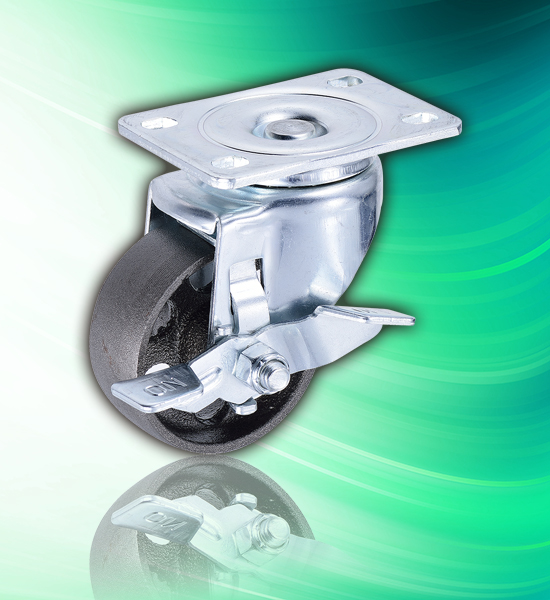 3 inch Cast Iron Metal Caster Wheels with Lock Brake