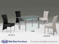 餐桌、餐椅、餐桌、玻璃桌、餐厅家具、时尚椅子、钢管家具