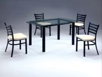 梯形造型餐椅、黑脚餐椅、四条背餐椅、时尚咖啡餐椅