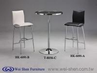 Glass Bar table, Metal Bar Chair, Bar Furniture, Pub chair