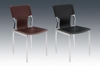 咖啡餐椅、鋼管家具、電鍍餐椅、硬皮皮革餐椅