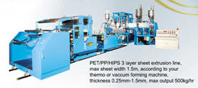 PET/PP/HIPS 3 Layer Sheet Extrusion Line