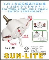 E26 TWIN LIGHT, PULL CHAIN SWITCH LAMPHOLDER
