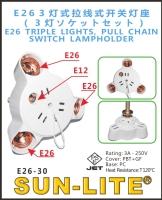 E26 TRIPLE LIGHTS, PULL CHAIN SWITCH LAMPHOLDER