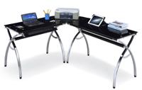 L型玻璃电脑桌