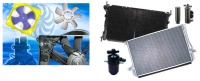 冷却空调系统: 水箱、冷凝器、风扇、蒸发器、储液器