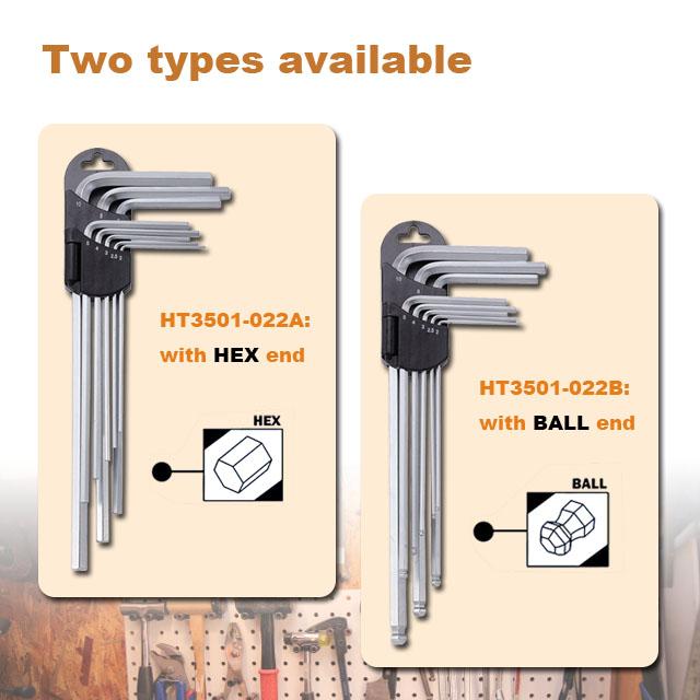 8pcs Long-Arm Hex & Ball Key Set