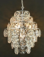 Chrome Ceiling Fitting with Clear octagonal Beads (E14x4)