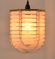Hexagonal Polished brass frame and frosted Acrylic prism pendant