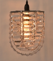 Octagonal Chrome frame and Clear Acrylic prism pendant