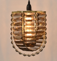Octagonal Polished brass frame and Grey Acrylic prism pendant