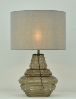 Grey glass and Satin nickel finished Table lamp