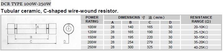 圆磁管C型固定线绕电阻器