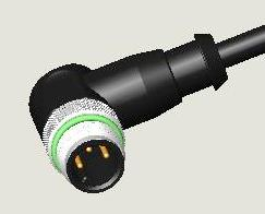 M12 3P PLUG WATER RESISTANCE R/A PUR CABLE ASS'Y