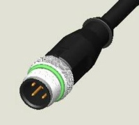 M12 4P PLUG WATER RESISTANCE PUR CABLE ASS`Y