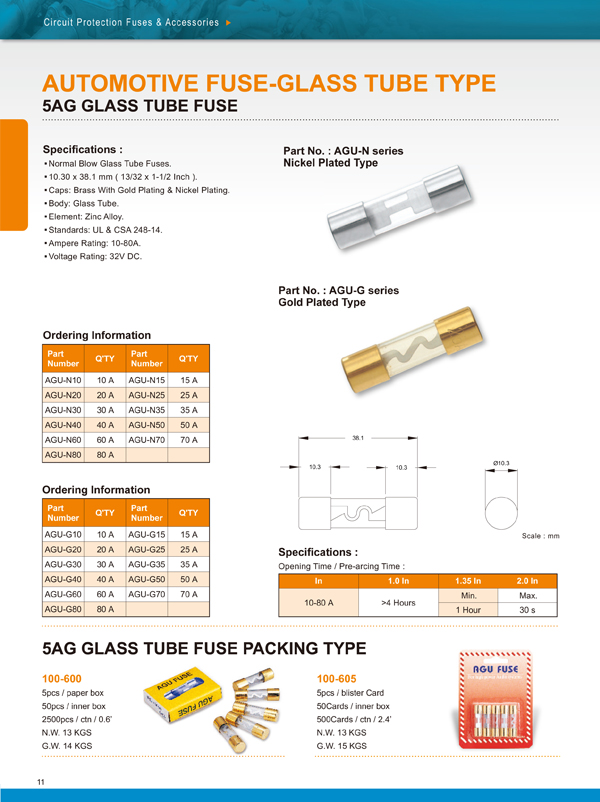 5AG GLASS TUBE FUSE PACKING TYPE