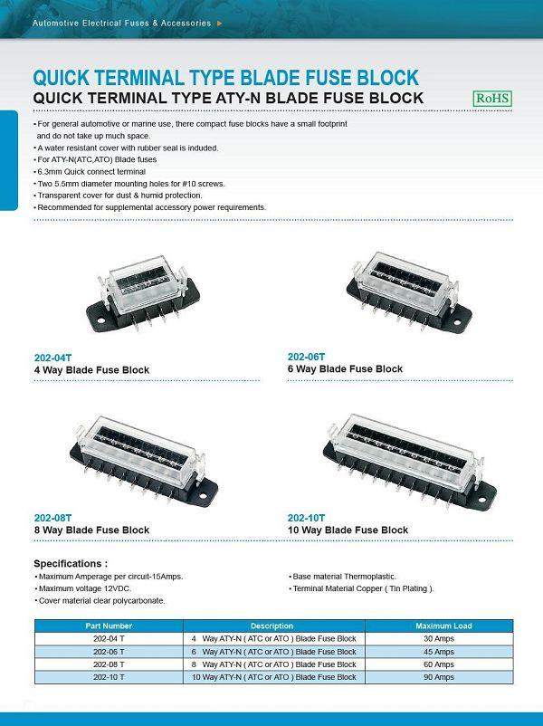 QUICK TERMINAL TYPE ATY-N BLADE FUSE BLOCK-6 Way Blade Fuse Block