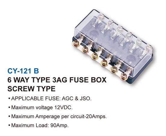 3AG FUSE BOX-SCREW TYPE-6 WAY TYPE 3AG FUSE BOX SCREW TYPE
