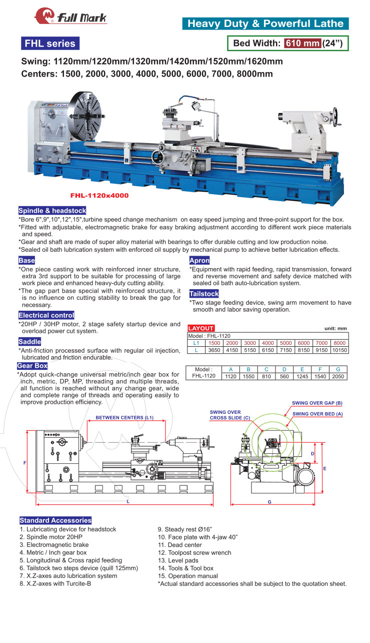 Heavy Duty Lathe | FULL MARK EQUIPMENT CORP  | Product