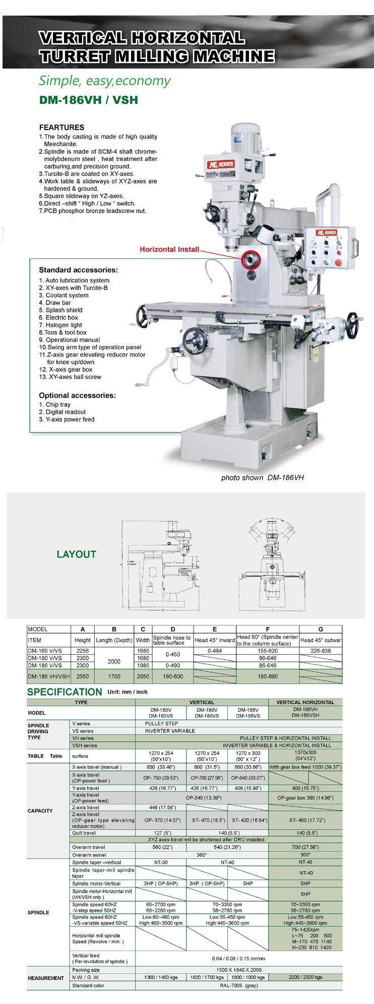 Vertical Horizontal milling machine | Turret Vertical