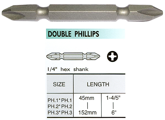 Double End Bits - Double End Phillips Bits