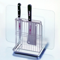 Knife and Cutting Board Rack With Tray