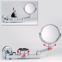 Vanity mirror set w/heavy-duty suction cup