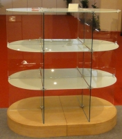 Glass display showcase-Oval-shaped