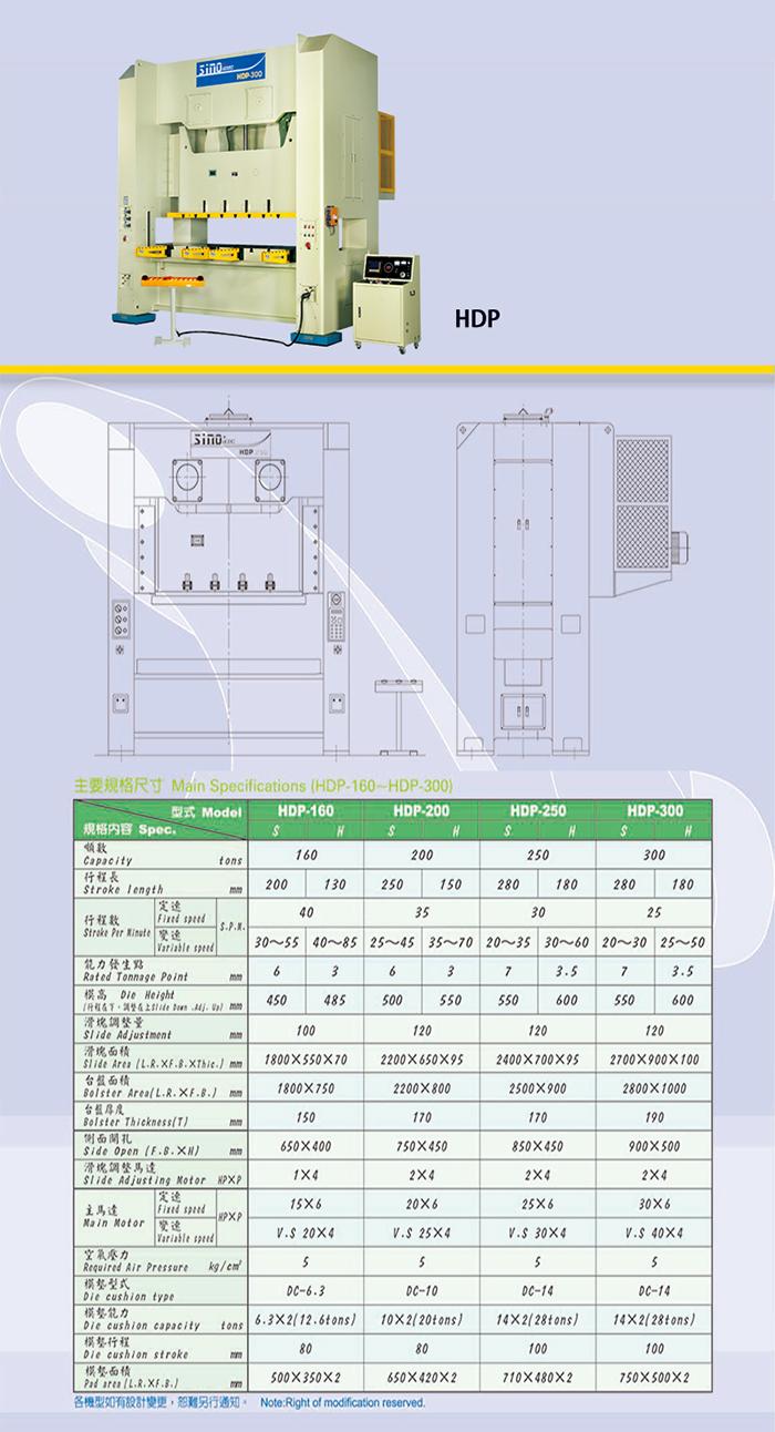 HDP 直壁式双曲轴冲床(六面导路)