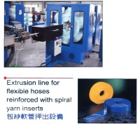 Extrusion line for flexible hoses reinforced with spiral yarn inserts